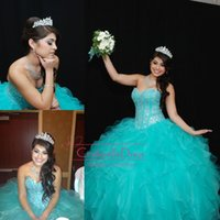 crystal ball beads - Aqua Organza Ball Gown Quinceanera Dresses Sheer Beads Crystal Draped Cascading Ruffles Wedding Cheap Sweet Prom Dress BO7748