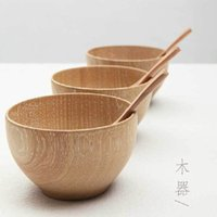 Wholesale Natural Wooden Wood Serving Bowls Japan Outdoor Tableware Rice Thermos Bowls Soup Bowl Salad Dishes Containers For Food Kitchen Accessories