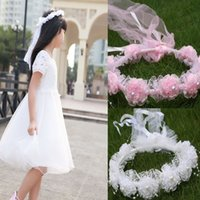 active white flower - Charming White Pink Kids Children Veils Headpiece To Match Flower Girl Dress Princess Garland Flower Girl Headband For Wedding