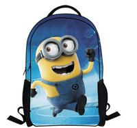 Wholesale Kids Novelty Backpacks - New minion backpacks shoolbag for kids fashion hot Novelty Despicable Me minions Kids childrens Cartoon shool bags for boys and girls