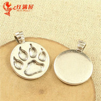 Wholesale 21 MM Vintage DIY parts bear s paw print factory jewelry accessories the lowest total network silver Footprint charm