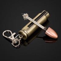 Wholesale Permanent Match Bullet Shape match striker oil lighter waterproof outdoor camping Key Chain