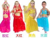 belly dance - 4pcs Top dress Bracelet Veil Kids Belly Dance Performance Costumes Children s Dancing Wear Belly Dance Cloth Set