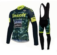 Wholesale 2015 Tinkoff Saxo New Fashion Mountain Bike Cycling Team Jersey Set Long Sleeve Winter Fleece With Padded Trousers Green Cycling Kit