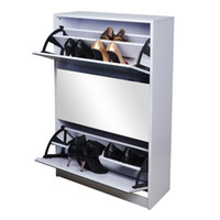 shoe cabinet - Mirrored Shoe Cabinet Rack Wooden Shoe Wardrobe with Rotating Doors For Enterway Stock in USA