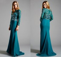 Wholesale Vestido De Festa Fashion Lovely Formal Evening Dresses With Long Sleeves Dark Blue Chiffon And Lace With Beads Low Price Party Gown FB361
