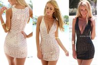 Wholesale New Bandage Dress Sequined Vestidos Sexy Club Dress Bohemian Novelty Dresses Elegant COCKTAIL Party Dresses SML