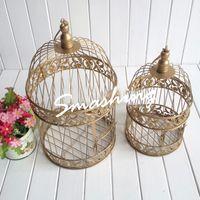 antique candle lanterns - Wedding decoration Candle holders Handmade Antique Gold metal decorative wedding bird cage white candle lanterns