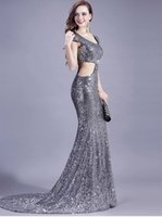 Cheap Mermaid Silver Sequin Evening Dress Cut Out Cap Sleeve Floor Length Sexy Women Formal Party Dress Prom Gown
