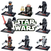 Wholesale 8pcs Star Wars The Force Awakens Movie Action Figures bb8 Darth vader Kid Baby Toys Mini Figure Building Blocks Sets
