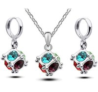 asian candy - 2016 new high quality Candy colored female sweet style Crystal cube Earrings Necklace jewelry set woman jewelry a829