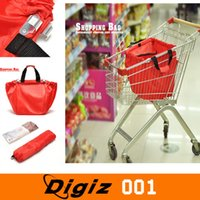 Wholesale Large Folding cart supermarket shopping Handbag bags square pocket Eco friendly Reusable Foldable handle Bag