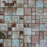 Wholesale New mosaic design electrosilvering glass mosaic tile newest printing restaurant toilet background mosaic tiles