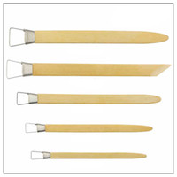 Wholesale 5pcs Large Toothed bamboo Scraper Polymer Clay Tools Pottery Modeling Sculpting Tools