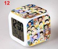 achat en gros de chi numérique-Gratuit dhl chi-bi Maruko bureau horloges de table 7 coloré flash tactile personnalisation de conception de dessin animé numérique réveils cadeau tour couleurs