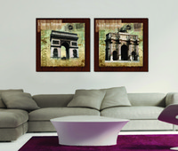 art ink stamps - 2 Pieces Wall Painting Art Picture Paint on Canvas Prints Triumphal Arch Parthenon stamp Eiffel Tower Big Ben Colosseum