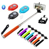Wholesale Extendable Monopod Selfie Stick Phone Camera Clip Holder Wireless Bluetooth Remote Shutter Controller for Android iOS