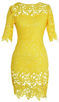 Wholesale Plus Size Brazil Yellow Crochet Lace Bandage Bodycon Dress Women s Vintage Floral Boho Woman Midi Evening Party Pencil Dress