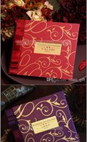 Wholesale 2015 Letter Folded Red Purple Precious Personalized Printing Wedding Invitations Cards