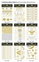 Wholesale Metalic Tatoos Gold MetallicTemporary Flash Tattoos Sex Products Henna Metal Bling Tatouage Body Paint Stickers