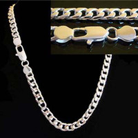 Wholesale 16inch inch choose Promotion Men s Jewelry High Quality Sterling Silver Necklaces MM Chain Necklace For Men collar