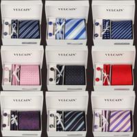Wholesale New Model set Polyester Yarn Ties Men s Ties Fashion Neck tie Set Plaid Stripe Mans Tie Neckties With Gift Box