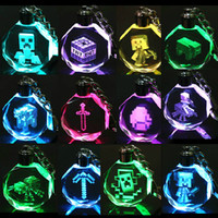 Wholesale Fashion MINECRAFT Creeper Keychains Promotion MINI Key Chain Accessories Lovely Color Led Light Keyring Creative Creeper Birthday Gift SK328