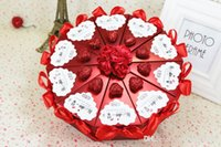 Wholesale 2015 New Cake Shape Paper Candy Boxes with Flower Bowknot Ribbon for Romantic Wedding Favors Party Gift Boxes Holders