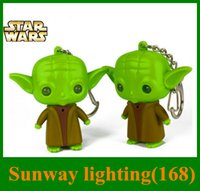 resale - 2016 Star Wars Darth Vader and Master Yoda Key chain Accessories LED light Music sound key ring Resale Opp bag packing