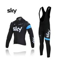 Wholesale SKY Team Cycling jerseys set Autum winter Fleece None Fleece bodysuit long sleeve bib breathable bike wear vintage wool cycling jersey