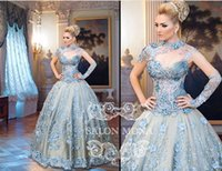 Cheap Reference Images Illusion Evening Dresses Best High Neck Tulle Ball Gown Evening