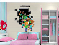 Summer cartoon wall stickers - 3D Minecraft Run Away Wall Stickers Kids Creeper Decorative Wall Decal Cartoon Wallpaper Kids Party Decoration Christmas Wall Art cm