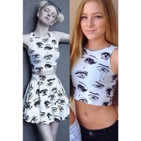 Wholesale 2015 Summer Style Eyes and Tears Pattern Tight Crop Top Women s D Print Crop Tops Suit Top Short Vest Tank Tops LC25567