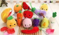 Wholesale Kawaii Mini CM Vegetables amp Fruits Random Models Keychain DOLL Plush TOY Phone Strap Charm TOY DOLL Wedding Bouquet TOY