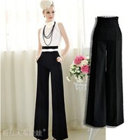 Cheap Freeshipping 2015 Autumn New OL High Waist Yogo Trousers Ladies' Working Palazzo Wide Leg Long Pants S-XXL #C47759