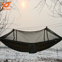 Wholesale SWIFT x120cm Portable Army Green High Strength Parachute Nylon Camping Mosquito Hammock with Mosquito Nets