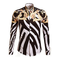 designer clothes - Men Shirt Fashion Designer Brands Shirts Men Europe and America Striped Slim Man Clothes Print Shirts mens shirt