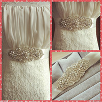 Wholesale Pearls Crystal Beaded Ribbon Bridal Sashes Belts Luxurious For Bride s Waist Accessories Cheap Sale Online