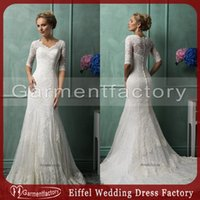 Cheap amelia sposa 2014 wedding dresses scalloped small v neck mermaid court train half length lace wedding gowns
