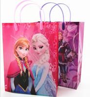 Wholesale 014 New Arrival Hot Sell Europe Frozen Elsa Children Cartoon Gift Bags Pink Purple Children s Girls Big Toys Receive Kids Bags E0273 large