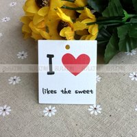 Wholesale in stock I Love heart art paper color printing hang tag normal clothing hat jewelry tag without string