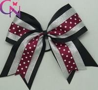 cheer bow holder - 3 colors Sequined Cheer Hair Bow Cheerleading Grosgrain Ribbon Bow Elastic Pony Holder RK78378