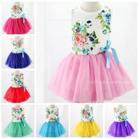 tutu dress - 2015 Korean Summer Kids Baby Toddler Child Girl Princess White Pink Yellow Purple Blue Green Fancy Bowknot Flower Print Tutu Dress S0140001