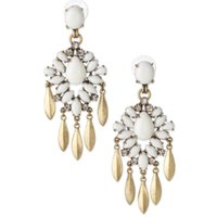 Wholesale Brand White Teardrop Crystal Big Earrings for Women Imitated gemstone jewelry brincos grandes coupon CE109