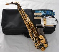 alto keys - Black Nickel Alto Saxophone Sax Gold Key Saxofon High F W Case Pc Reeds