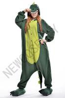adult green onesie - 2016 Cosplay Green dinosaur Pajamas No Shoes Pajamas Hooded Conjoined Sleepwear Costumes Adult Unisex Onesie Soft Sleepwear CC31