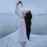 Cheap Women summer dress 2015 White fairy style dress Mori girl Lantern Sleeve breathable long paragraph dress goddess 1246