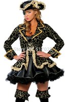 Wholesale 5 Sexy Pirate wench lady Halloween cosplay costume set for adults women Nightclub wear party dress outfit with hat patch