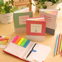 Wholesale Colorful Sticky Notes Portable Post It Notes With A Pen Memo Paper Stickers Home Office Color Random JIA12