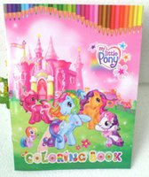Wholesale 50 Kids Cartoon Coloring Book with Stickers My Little Pony Children Drawing Book